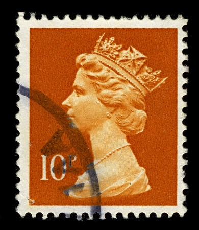 commonwealth: ENGLAND-CIRCA 1971:A stamp printed in ENGLAND shows image of Elizabeth II (Elizabeth Alexandra Mary, born 21 April 1926) is the constitutional monarch of United Kingdom in orange, circa 1971. Editorial