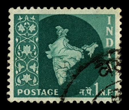 sello postal: INDIA-CIRCA 1957:A sello impreso en INDIA muestra la imagen de la India, oficialmente la Rep�blica de la India, es un pa�s en el sur de Asia, alrededor de 1957.