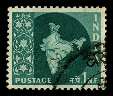 perforated stamp: INDIA-CIRCA 1957:A stamp printed in INDIA shows image of India, officially the Republic of India, is a country in South Asia, circa 1957.