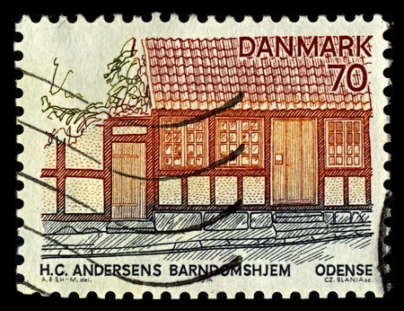DENMARK-CIRCA 1974:A stamp printed in DENMARK shows image of House Hans Christian Andersen, referred to using the initials HC Andersen in Denmark and the rest of Scandinavia; was a Danish author, fairy tale writer, and poet, circa 1974. Editorial