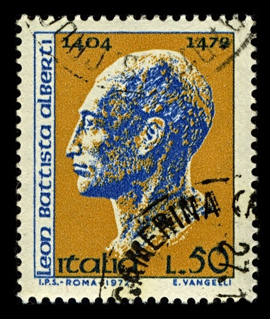 linguist: ITALY-CIRCA 1972:A stamp printed in ITALY shows image of Leon Battista Alberti was an Italian author, artist, architect, poet, priest, linguist, philosopher, and cryptographer, and general Renaissance humanist, circa 1972.