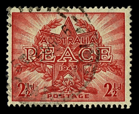 AUSTRALIA-CIRCA 1945:A stamp printed in AUSTRALIA shows image of star with laurel wreath, circa 1945.