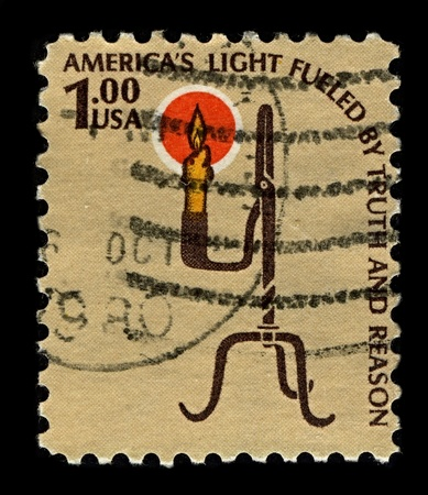 pioneering: USA-CIRCA 1979:A stamp printed in USA shows image of Keep candles out of the pioneering time, circa 1979.