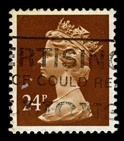 realms: ENGLAND-CIRCA 1991:A stamp printed in ENGLAND shows image of Elizabeth II (Elizabeth Alexandra Mary, born 21 April 1926) is the constitutional monarch of United Kingdom in brown, circa 1991.