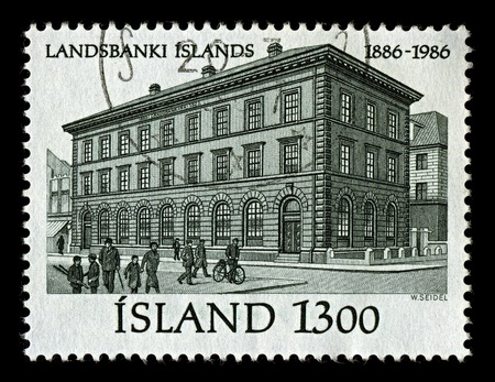 ICELAND-CIRCA 1986:A stamp printed in ICELAND shows image of Landsbanki, also commonly known as Landsbankinn (literally
