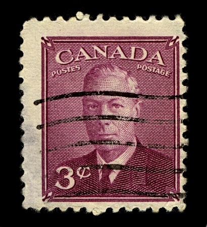 CANADA-CIRCA 1950:A stamp printed in CANADA shows image of George VI  was King of the United Kingdom and the Dominions of the British Commonwealth from 11 December 1936 until his death, circa 1950. Editorial