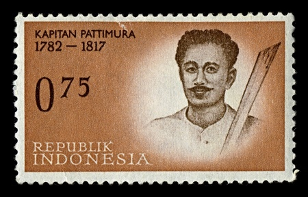 INDONESIA-CIRCA 1961:A stamp printed in INDONESIA shows image of Thomas Matulessy, also known as Kapitan Pattimura or simply Pattimura, was a Christian Ambonese soldier who led a rebellion against Dutch forces on Saparua near Ambon in Maluku, circa 1961. Stock Photo - 10274351