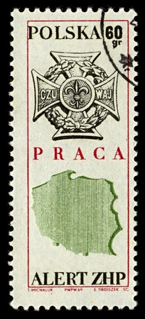 POLAND-CIRCA 1969:A stamp printed in POLAND shows image of Zwiazek Harcerstwa Rzeczypospolitej (Scouting Association of the Republic, ZHR) is a Polish Scouting organization, circa 1969. Stock Photo - 10274350