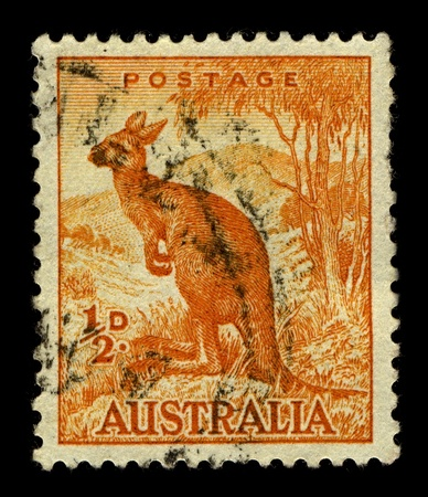 AUSTRALIA-CIRCA 1937:A stamp printed in AUSTRALIA shows image of Macropus is a marsupial genus that belongs to the family Macropodidae, it has 14 species which are further divided into 3 subgenera, circa 1937.