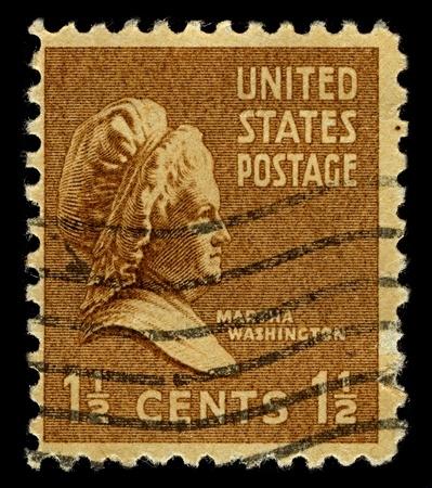 martha: USA-CIRCA 1948: A stamp printed in USA shows portrait Martha Dandridge Custis Washington was the wife of George Washington, the first president of the United States, circa 1948.