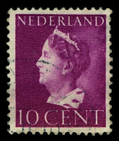 cir: NETHERLANDS-CIRCA 1940:A stamp printed in NETHERLANDS shows image of Wilhelmina Helena Pauline Maria, Princess of the Netherlands , Princess of Orange-Nassau , Duchess of Limburg, Duchess of Mecklenburg, was from 1890 to 1948 Queen of the Netherlands, cir