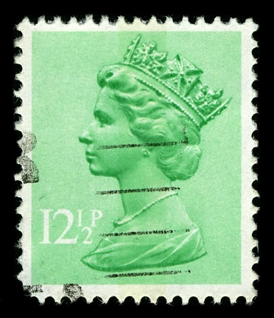 ENGLAND-CIRCA 1982:A stamp printed in ENGLAND shows image of Elizabeth II (Elizabeth Alexandra Mary, born 21 April 1926) is the constitutional monarch of United Kingdom in Light Emerald, circa 1982. Editorial