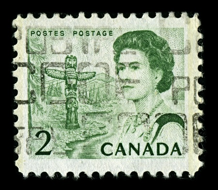 CANADA-CIRCA 1967:A stamp printed in CANADA shows image of Elizabeth II (Elizabeth Alexandra Mary, born 21 April 1926) is the constitutional monarch of United Kingdom, circa 1967. Editorial