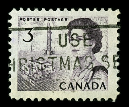 CANADA-CIRCA 1967:A stamp printed in CANADA shows image of Elizabeth II (Elizabeth Alexandra Mary, born 21 April 1926) is the constitutional monarch of United Kingdom, circa 1967.