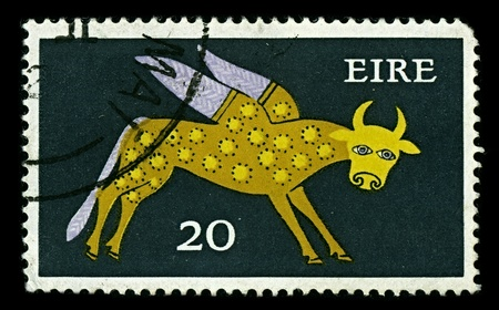 IRELAND - CIRCA 1979: A stamp dedicated to the Taurus is the second astrological sign in the Zodiac, originating from the constellation of Taurus, circa 1979. Stock Photo - 10339991