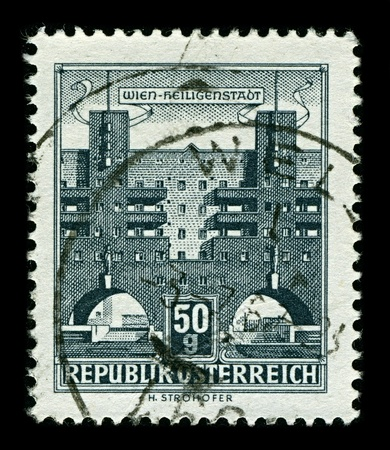 AUSTRIA-CIRCA 1958:A stamp printed in AUSTRIA shows image of Karl Marx-Hof  is one of the best-known Gemeindebauten in Vienna, situated in Heiligenstadt, a neighbourhood of the 19th district of Vienna, Dobling, 1958. Stock Photo - 10354429