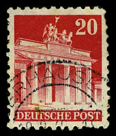 GERMANY-CIRCA 1948:A stamp printed in GERMANY shows image of The Brandenburg Gate (German: Brandenburger Tor) is a former city gate and one of the main symbols of Berlin and Germany, circa 1948.