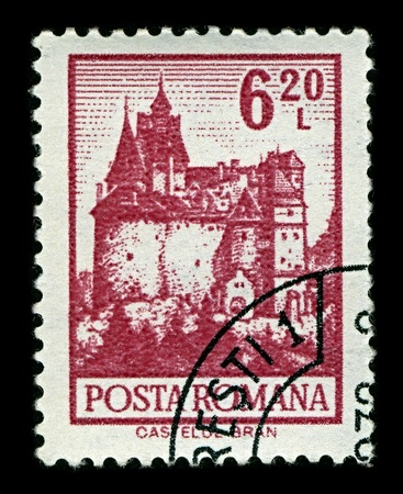 ROMANIA-CIRCA 1972:A stamp printed in ROMANIA shows image of Bran Castle (German: Torzburg; Hungarian: Torcsvar), situated near Bran and in the immediate vicinity of Brasov, is a national monument and landmark in Romania, circa 1972.