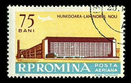 ROMANIA-CIRCA 1961:A stamp printed in ROMANIA shows image of Hunedoara  is a city in Hunedoara County, Transylvania, Romania, circa 1961. Stock Photo - 10354433