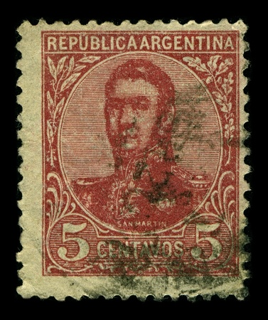 jose de san martin: ARGENTINA-CIRCA 1935:A stamp printed in ARGENTINA shows image of Jose Francisco de San Martin, known simply as Don Jose de San Martin, was an Argentine general and the prime leader of the southern part of South Americas successful struggle for independen