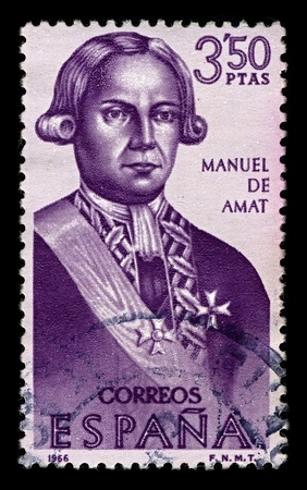amat: SPAIN-CIRCA 1966:A stamp printed in SPAIN shows image of Felipe Manuel Cayetano de Amat y de Juniet was a Spanish military officer and colonial administrator,circa 1966