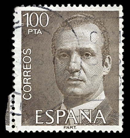reigning: SPAIN-CIRCA 1981:A stamp printed in SPAIN shows image of Juan Carlos I (Spanish pronunciation baptized as Juan Carlos Alfonso Victor Maria de Borbon y Borbon-Dos Sicilias; born 5 January 1938, Rome, Italy) is the reigning King of Spain,circa 1981