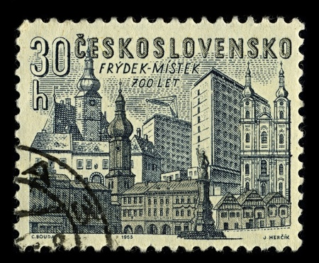 Czechoslovakia-CIRCA 1965:A stamp printed in Czechoslovakia shows image of Frydek-Mistek  is a city in Moravian-Silesian Region of the Czech Republic,circa 1965. Stock Photo - 10678451