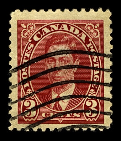 dominions: CANADA-CIRCA 1937:A stamp printed in CANADA shows image of George VI (Albert Frederick Arthur George) was King of the United Kingdom and the Dominions of the British Commonwealth, circa 1937.