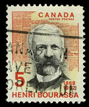 CANADA-CIRCA 1968:A stamp printed in CANADA shows image of Joseph-Napoleon-Henri Bourassa was a French Canadian political leader and publisher,circa 1968.