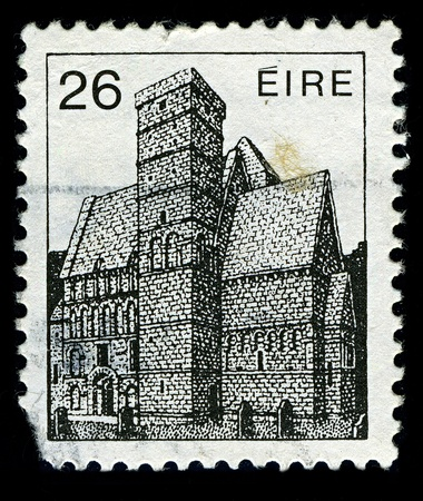 IRELAND-CIRCA 1982:A stamp printed in IRELAND shows image of The Rock of Cashel, also known as Cashel of the Kings and St. Patricks Rock, is a historic site in Irelands province of Munster, located at Cashel, South Tipperary, circa 1982.