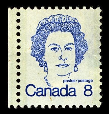 CANADA-CIRCA 1973:A stamp printed in CANADA shows image of Elizabeth II (Elizabeth Alexandra Mary, born 21 April 1926) is the constitutional monarch of United Kingdom, circa 1973.
