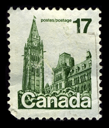 CANADA-CIRCA 1979:A stamp printed in CANADA shows image of the Parliament of Canada  is the federal legislative branch of Canada, seated at Parliament Hill in the national capital, Ottawa, circa 1979. Stock Photo - 10678425