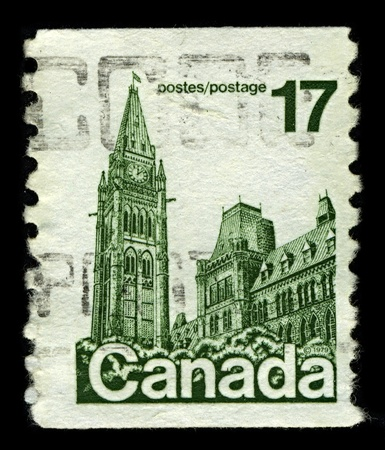 CANADA-CIRCA 1979:A stamp printed in CANADA shows image of the Parliament of Canada  is the federal legislative branch of Canada, seated at Parliament Hill in the national capital, Ottawa, circa 1979. Stock Photo - 10678420