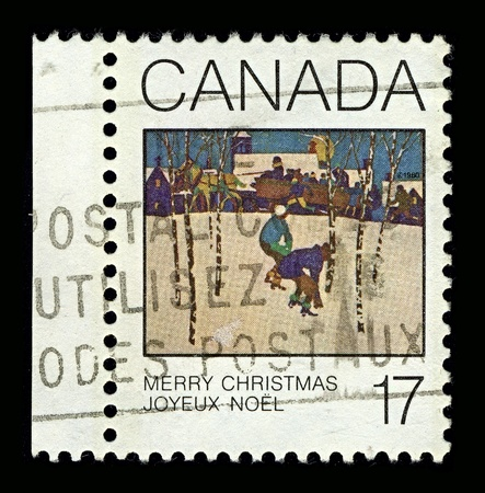 CANADA-CIRCA 1980:A stamp printed in CANADA shows image of the greeting Merry Christmas are traditionally used in North America, the United Kingdom, Ireland and Australia, circa 1980.