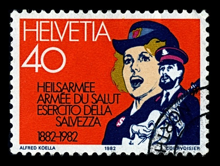 extensive: Switzerland-CIRCA 1982:A stamp printed in Switzerland shows image of The Salvation Army is a Protestant Christian church known for its extensive philanthropy and charity work, circa 1982.