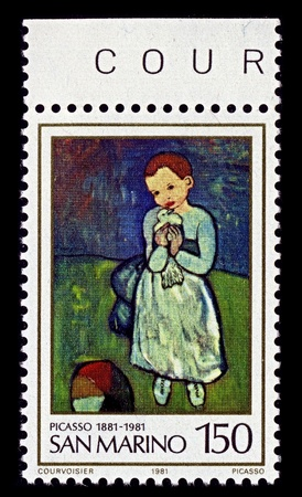 pablo: San Marino-CIRCA 1981:A stamp printed in San Marino shows image of Pablo Picasso Girl with Dove, circa 1981. Editorial