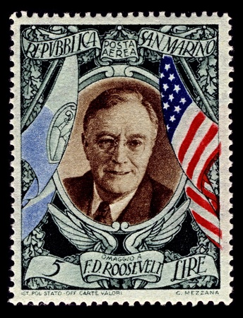 San Marino-CIRCA 1947:A stamp printed in San Marino shows image of Franklin Delano Roosevelt the 32nd President of the United States (1933�1945) and a central figure in world events during the mid-20th century, circa 1947.