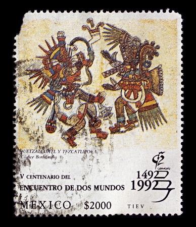 Mexico-CIRCA 1992:A stamp printed in Mexico shows image of Quetzalcoatl und Tezcatlipoca illustration aus dem Codex Borbonico, circa 1992.