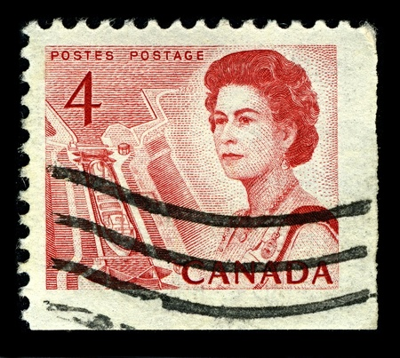 seaway: CANADA-CIRCA 1967:A stamp printed in CANADA shows image of The Saint Lawrence Seaway (St. Lawrence Seaway), is the common name for a system of locks, canals, circa 1967.
