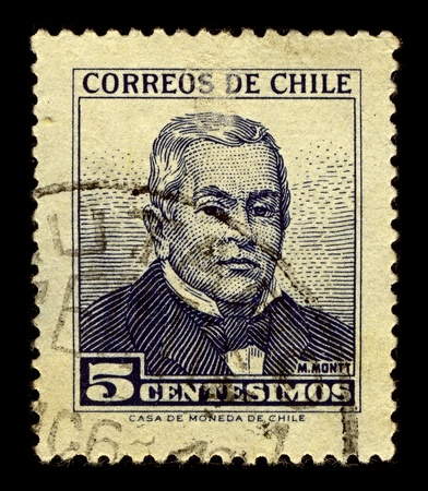 statesman: Chile-CIRCA 1960:A stamp printed in Chile shows image of Manuel Francisco Antonio Julian Montt Torres was a Chilean statesman and scholar, circa 1960.