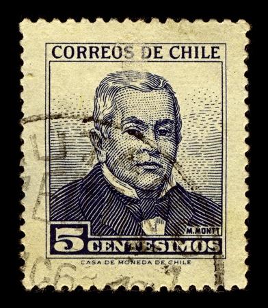 statesman: Cile-CIRCA 1960: Un timbro stampato in Cile, mostra l'immagine di Manuel Francisco Antonio Giuliano Montt Torres era uno statista cileno e studioso, circa 1960.