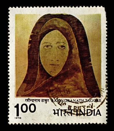 kisser: India-CIRCA 1978:A stamp printed in India shows image of Rabindranath Tagore Womans face, circa 1978.