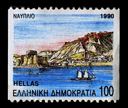 nafplio: Greece-CIRCA 1990:A stamp printed in Greece shows image of Nafplio is a seaport town in the Peloponnese in Greece, circa 1990.  Editorial