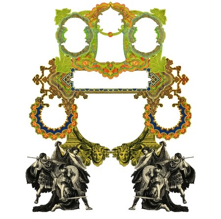 baroque frame: Luxurious Victorian frame with gladiator and bull. Stock Photo