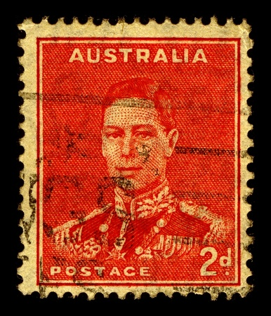 dominions: Australia-CIRCA 1937:A stamp printed in Australia shows image of George VI (Albert Frederick Arthur George) was King of the United Kingdom and the Dominions of the British Commonwealth, circa 1937.