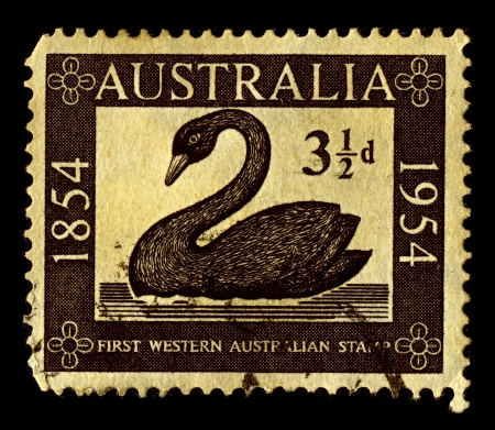 Australia-CIRCA 1954:A stamp printed in Australia shows image of Stamp of Western Australia