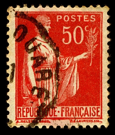 signifier: France-CIRCA 1932:A stamp printed in France shows image of Symbol of peace, circa 1932.