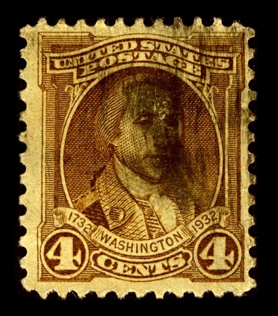 USA-CIRCA 1932:A stamp printed in USA shows image of George Washington was the dominant military and political leader of the new United States of America from 1775 to 1799, circa 1932.
