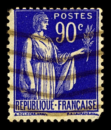 signifier: France-CIRCA 1938:A stamp printed in USA shows image of Symbol of peace, circa 1938.