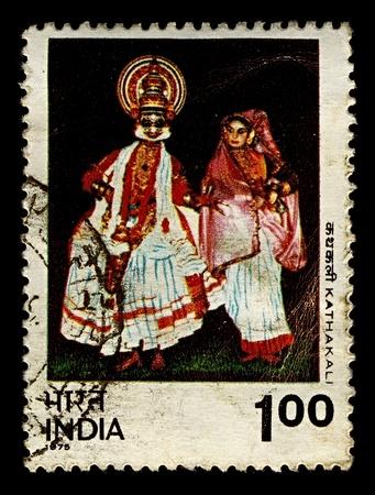 인도 -1975 년경 : 스탬프 Katakali의 이미지를 보여줍니다 인도에서 인쇄 1975 년경 고도의 양식에 일치시키는 클래식 인도 댄스 드라마입니다.